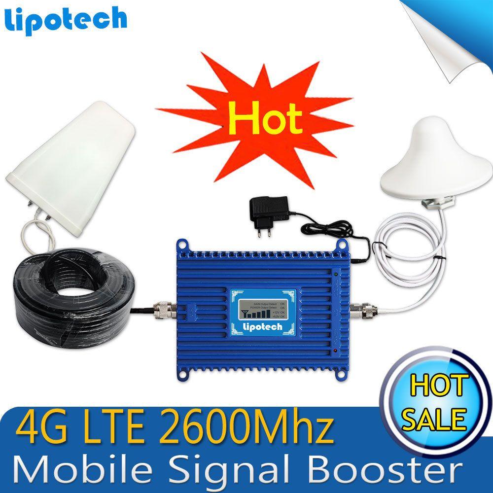 4G LTE téléphone portable répéteur de Signal 2600 MHz Signal Booster 70dBi Gain 2600 4G Allumé téléphone portable amplificateur de Signal avec écran lcd