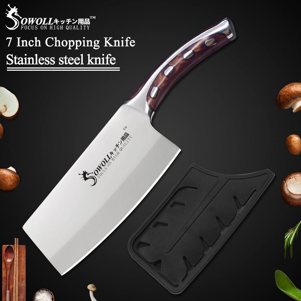 SOWOLL marque nouveauté 7 pouces couteau de cuisine à découper haute qualité 4Cr14 lame en acier inoxydable résine Fibre poignée couperet à viande