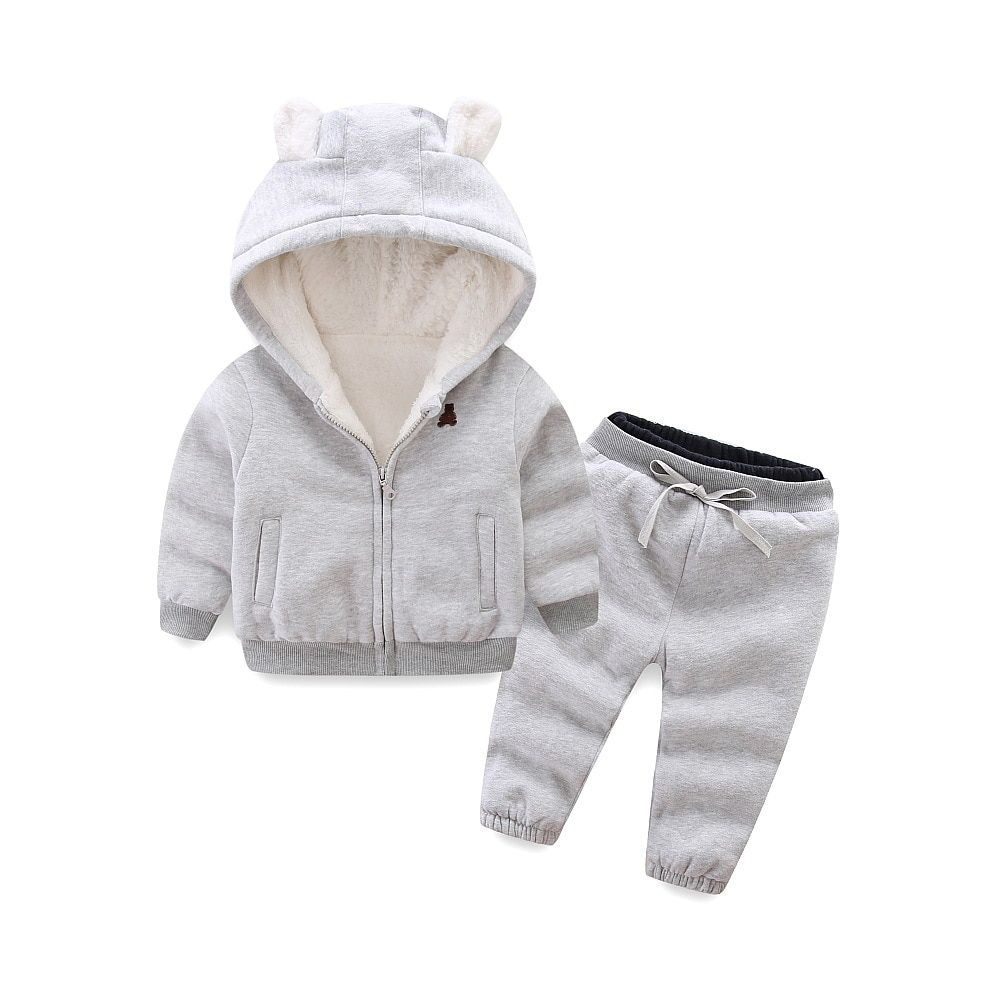 BibiCola childrens clothing sets winter models for boys girls children thickened fleece bear suit cotton sweater thicker coat
