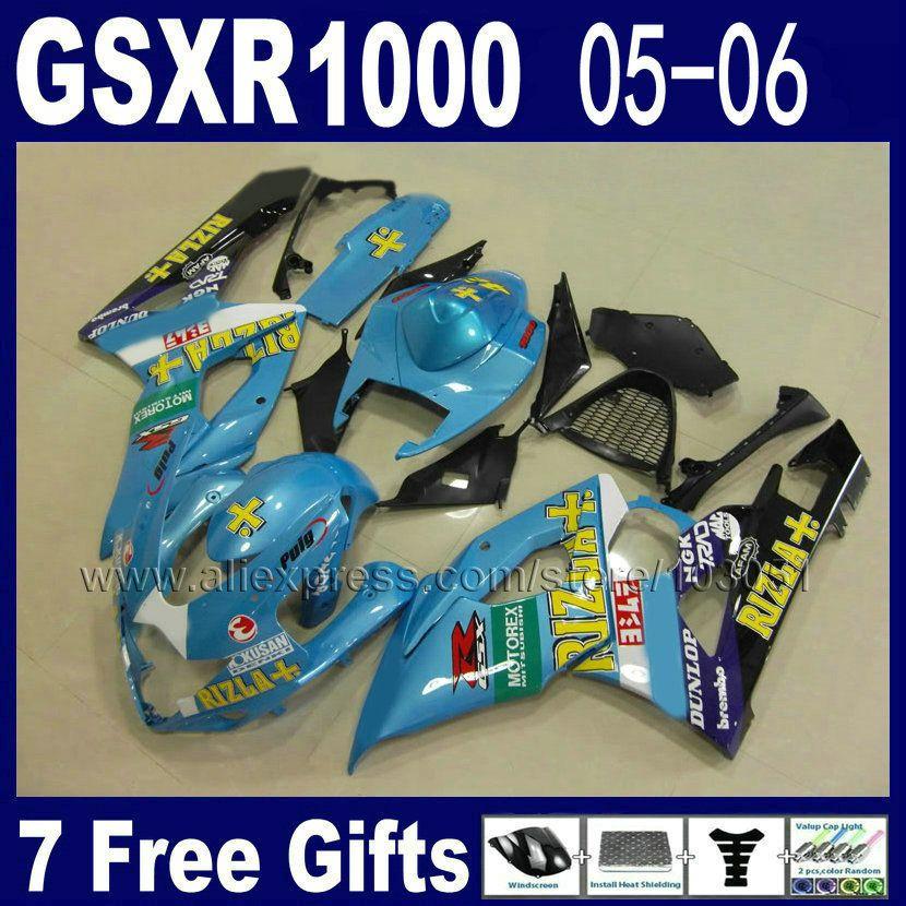 ABS spritzguss verkleidung kit für suzuki blau RIZLA + GSXR 1000 K5 2005 2006 kits 06 05 motorrad verkleidungen kit