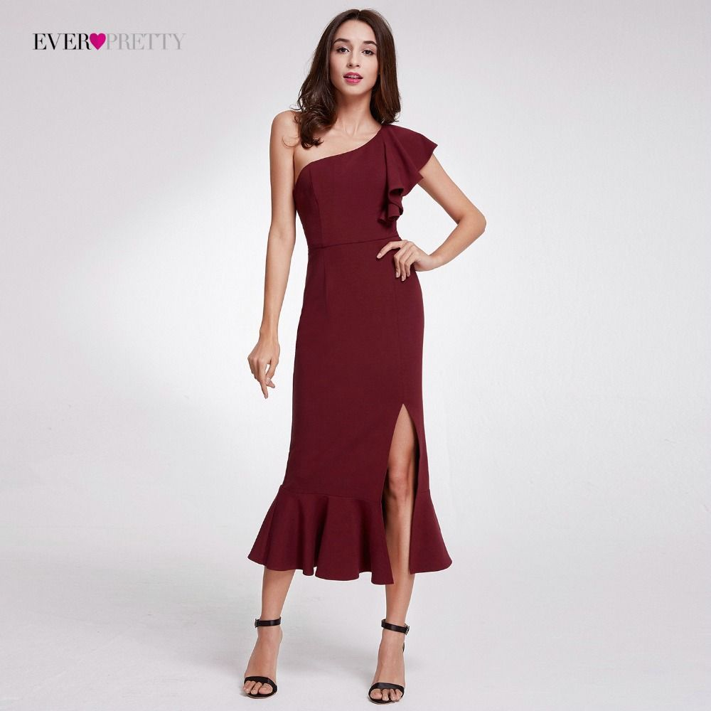 2018 Hot Sale Ever Pretty Elegant Burgundy Evening Dresses Tea-Length Split Simple Design EP07234BD Women Formal Evening Gowns