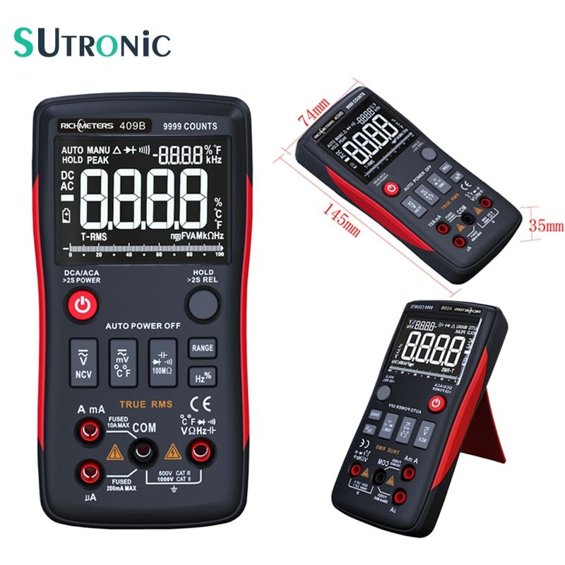 RM409B True-RMS Digital Multimeter 9999 Counts Analog Bar Graph Voltage Ammeter Ohm Auto range Frequency Duty Cycle Tempture