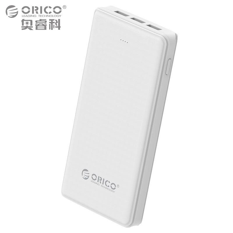ORICO 20000 mAh 3 USB Power Bank 5 V/2A * 2 + 5V1A * 1 Externe Batterie Mobile Backup-banküber Ladegerät mit Taschenlampe Universelle Weiß