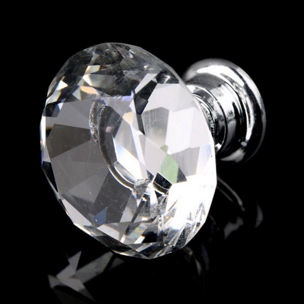 10 Stücke 30mm Diamant Form Kristallglas Türgriff Knob für möbel Schubladenschrank Küchenschrank Stoßgriffe Knöpfe Griff kleiderschrank