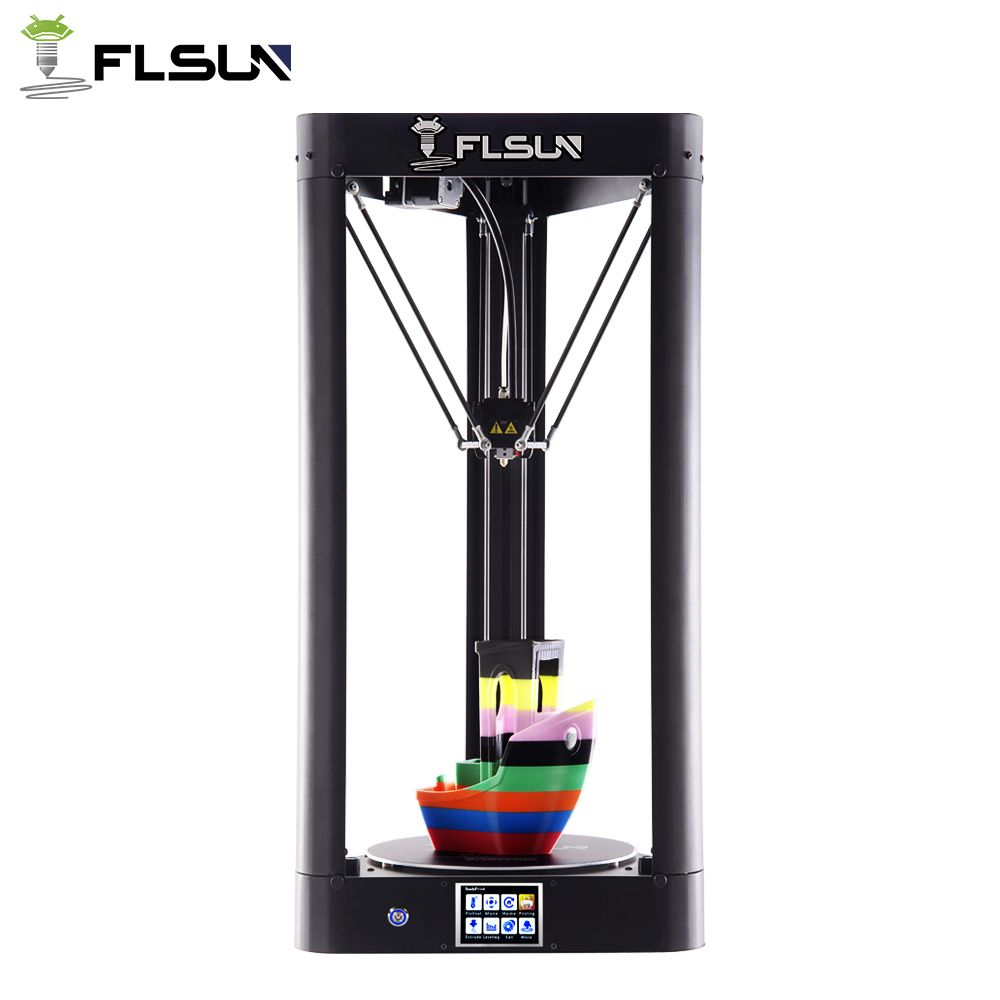 High Printing Speed Flsun-QQ Delta 3D Printer 95% Pre-assembly Large Printing Area 260*260*370mm Metal Frame Touch Screen Wifi