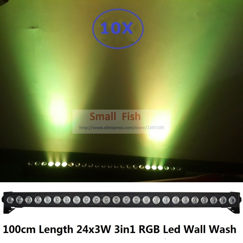 10X 2017 New Coming Stage Light 24*3W RGB 3IN1 LED Bar Wall Wash Light DMX512 Indoor Equipment Home Entainment Professional DJ