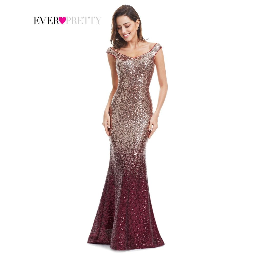 Evening Dress Long Sparkle Ever-Pretty 2017 New V-Neck Women Elegant EP08999 Sequin Mermaid Maxi Evening Party Gown Dress