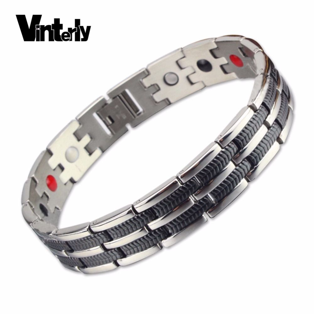 Vinterly hommes chaîne lien Bracelet blé noir acier inoxydable santé énergie Germanium magnétique Bracelets Bracelets pour hommes bijoux