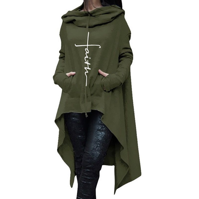 2018 New Fashion Faith Print Sweatshirt Femmes Hoodies Women Kawaii Print Girls Loose Pattern Cropped And Sweatshirts For