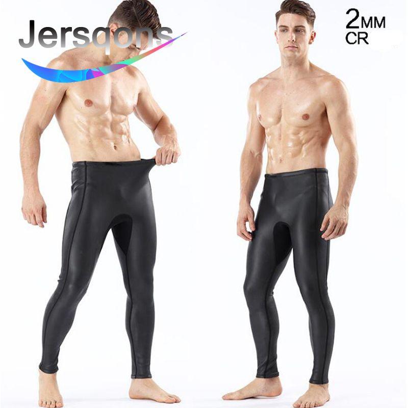 Jersqons Men 2mm Triathlon High Elastic Neoprene Buoyancy Smooth Skin Diving Swim Pants