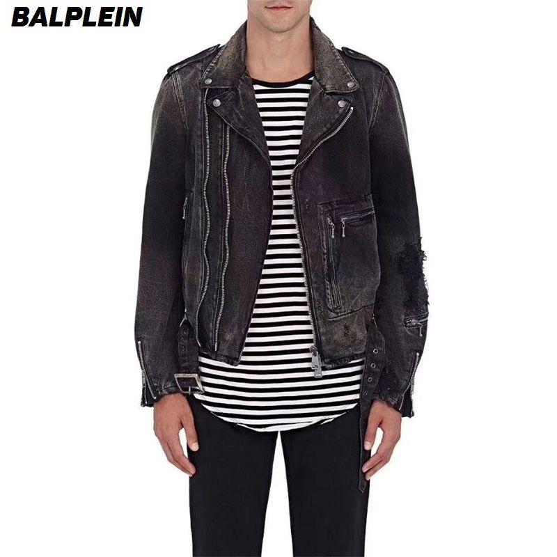 High Street Fashion Motor Jackets Men Denim Coat Balplein Brand Mens Jacket Black Gray Color Slim Fit Biker Jackets High Quality