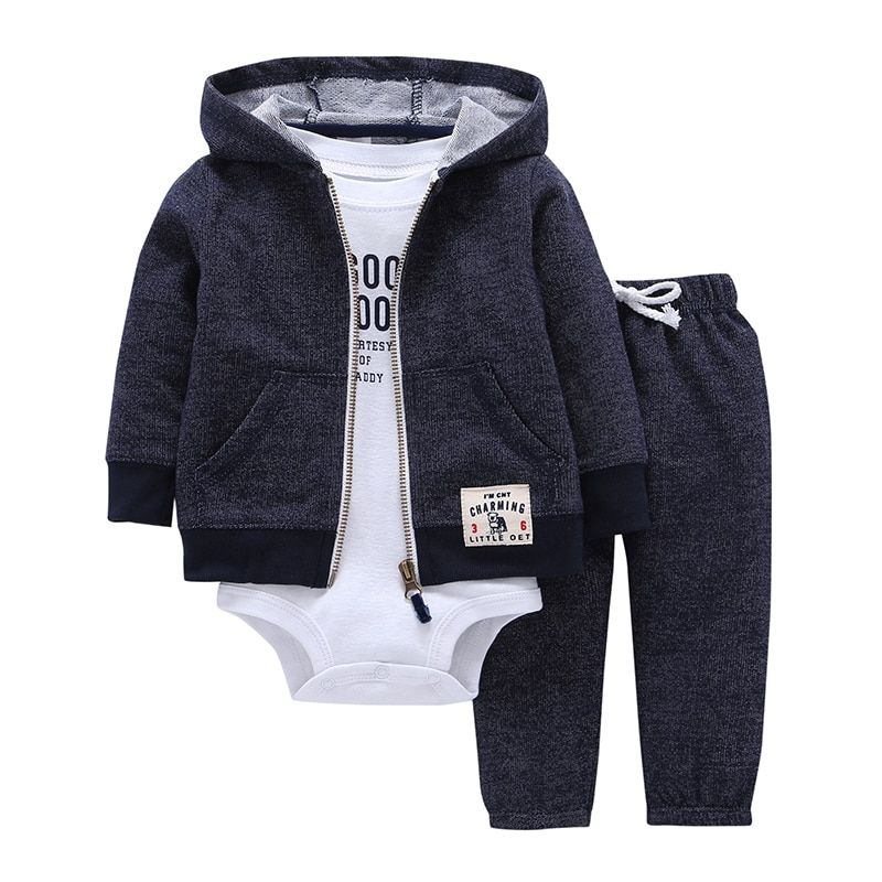 2018 Bebes для маленьких мальчиков комплект одежды для девочек комбинезоны Bebes хлопок кардиган с капюшоном + брюки + тело 3 1 предмет Одежда для но...