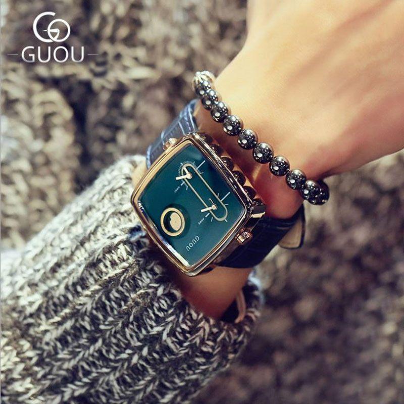 GUOU Relojes Para Los Amantes de Las Mujeres de Moda del Reloj Señoras Reloj Reloj Impermeable de Los Hombres de Cuero Relojes erkek kol saati reloj mujer