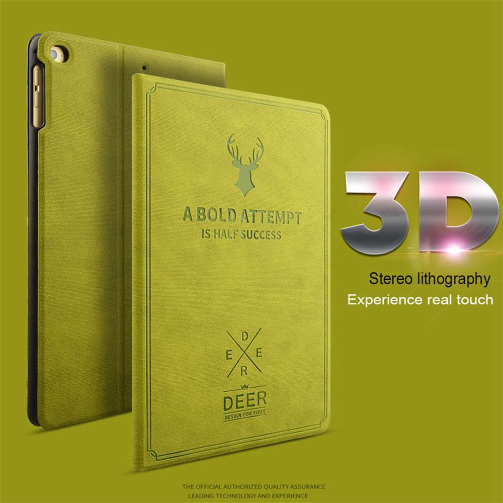 UTOPER Retro Deer Pattern Case For iPad 2 Case Sleep/Wake Up Flip 3D Embossing Leather Cover For iPad 3 4 Smart Stand Holder Bag