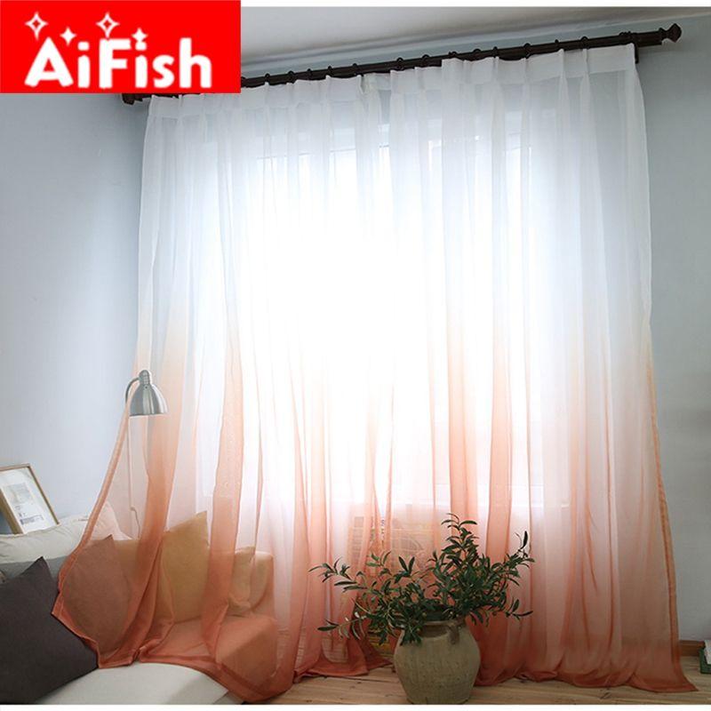 Rideaux Couleur Gradient Terilun Tulle Fenêtre Pure Écran Panneaux Romantique De Mariage Décor Rideau Pour Salon Chambre AP185-3