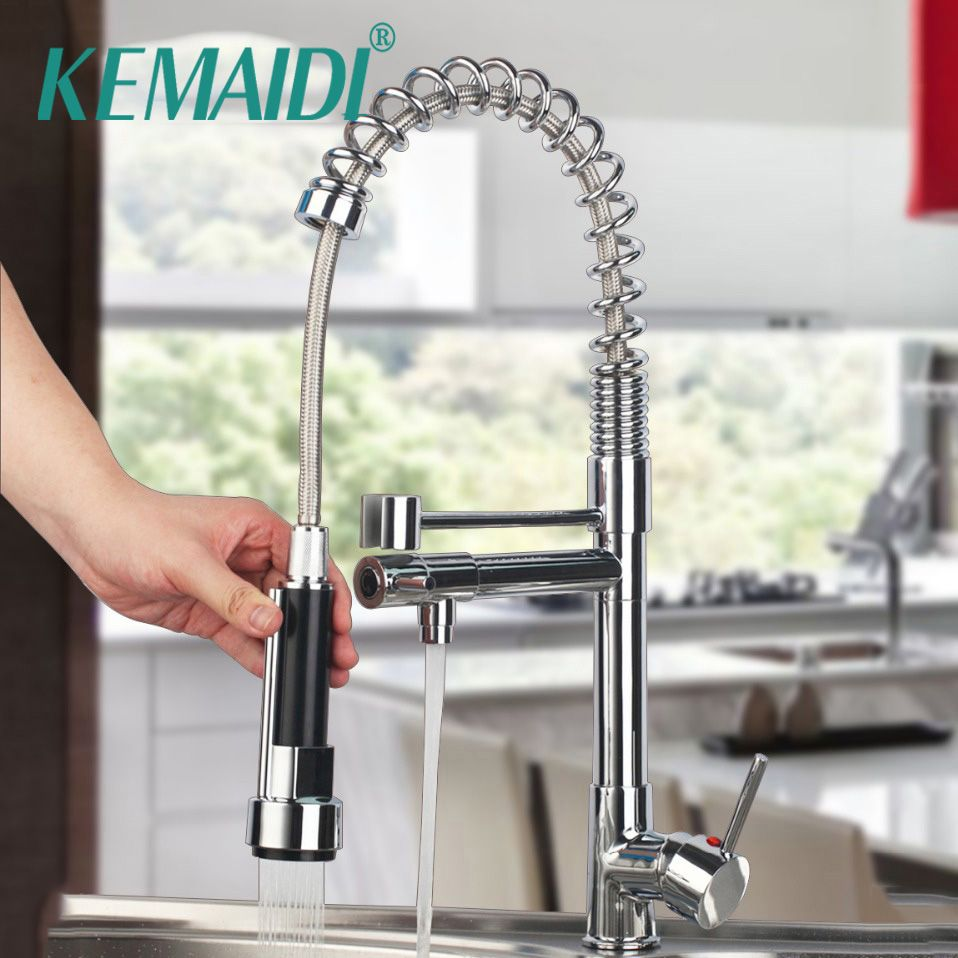KEMAIDI New Kitchen Faucet Water Tap Kitchen With Pull Down Shower Kitchen Mixer Pull Out Torneiras 360 Swivel Mixer Tap
