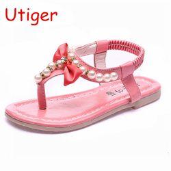 Nouveau Enfants Chaussures Sandales Filles Arc Sandales D'été Bébé bébé Chaussures Mode Enfants Chaussures Perles Enfants Chaussures Simples or rose