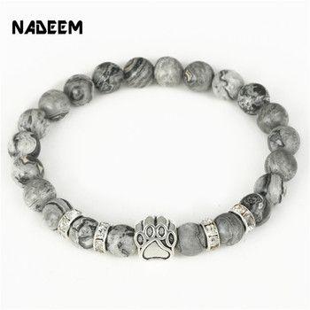 Hot Selling Natural Stone Mala Bead Yoga Bracelet Pitbull Dog Hand Paw 8mm Elastic Rope Bead Bracelet Fashion Men Women Jewelry