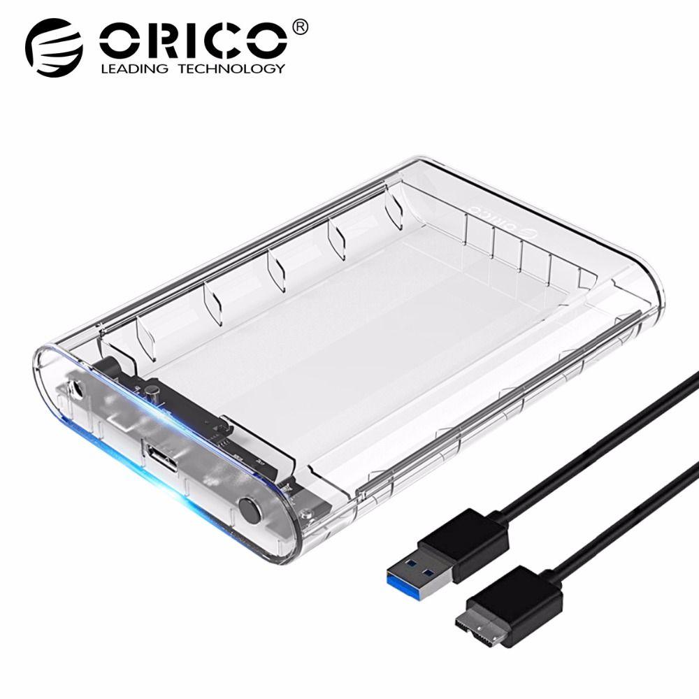 <font><b>ORICO</b></font> 3139U3 3.5 inch Transparent HDD Enclosure Case USB 3.0 5Gbps SATA3.0 Support UASP 8TB Drives for Notebook Desktop PC