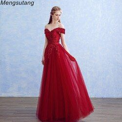 Jubah de soiree Boat Neck Manik-manik dengan Appliques Panjang Evening Dresses Elegant Lace vestido de festa Partai Banquet Prom dresses