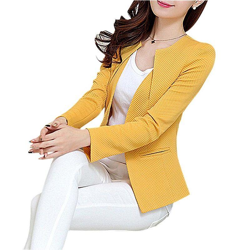 Las mujeres al por mayor del resorte adelgazan la capa del chaqueta 2018 más tamaño chaqueta casual manga larga un botón de traje señora Blazers trabajo superior Y068