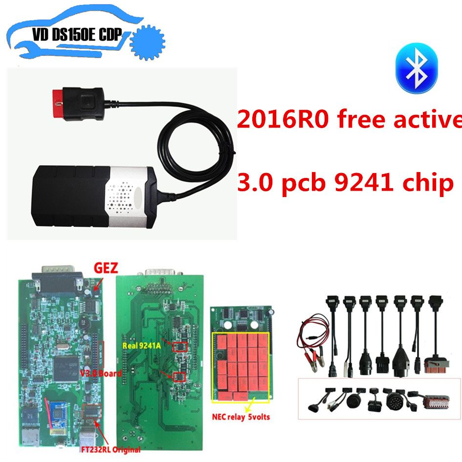2016R0 free active CD for delphis vd ds150e new vci cdp pro plus with 3.0 pcb 9241 chip with bluetooth +8pcs full set car cable