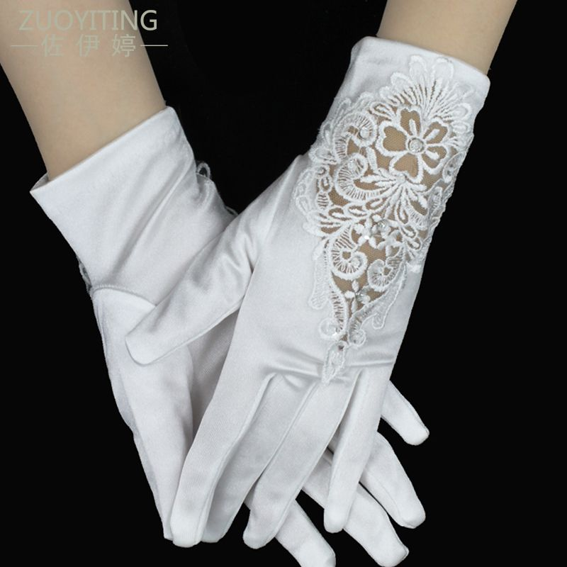 ZUOYITING New Cheap In Stock White Rhinestone Short Bride With Fingers Lace Wedding Gloves Bridal Gloves Wedding Accessories24