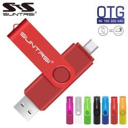 Sunstrsi USB Flash Drive 2.0 for Android Smart Phone 128GB pen drive 32GB OTG  Metal usb flash 64GB  usb stick 16GB  Custom logo