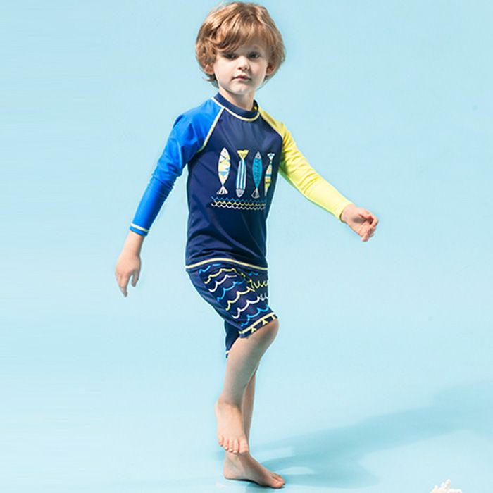 Short Pants Children's Beach Wear Character Boys Swimwear Long Sleeve Little Kids Bathing Suit for Young Boy Swimsuit Two Pieces