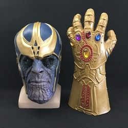 Thanos Mask Infinity Gauntlet Avengers Infinity War Gloves Helmet Cosplay Thanos Masks Halloween Props DropShipping