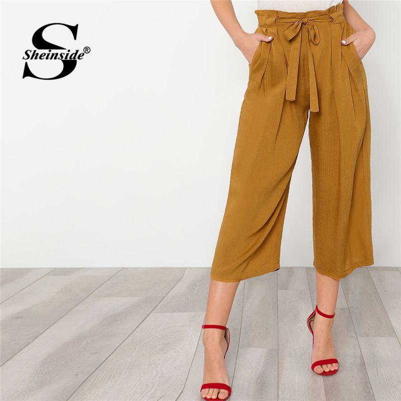 Sheinside Self Tie Ginger <font><b>Wide</b></font> Leg Pants Women Plain Belted High Waist Loose Trousers 2018 Summer Office Work Wear Pants