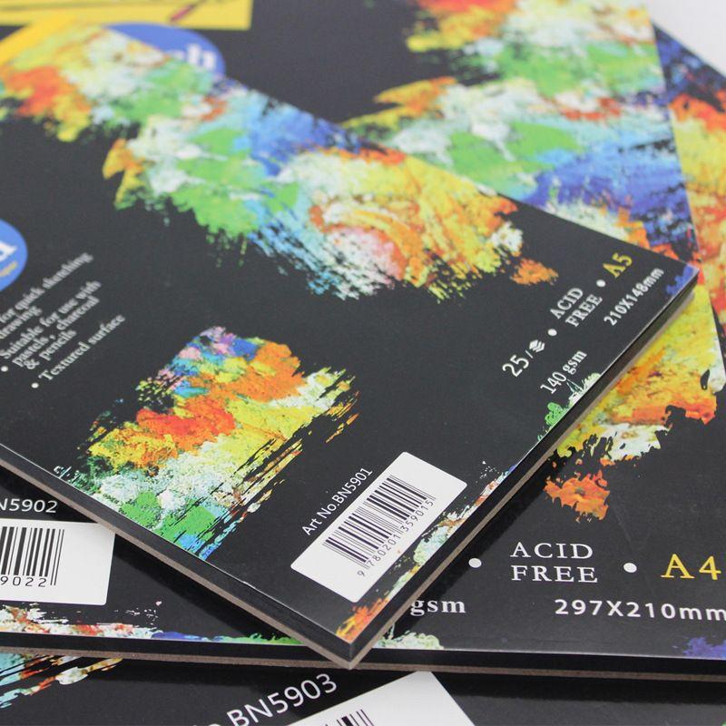 Negro Papel de la Libreta Sketch Graffiti Cuaderno de Dibujo Pintura Bosquejo de la Pintura de la A3 A4 A5 Cuadernos de Bocetos
