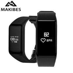 New Makibes HR2 Bluetooth 4.0 Men Women Smart Bracelet Fitness Activity Tracker Continuous Heart Rate Monitor Wristband