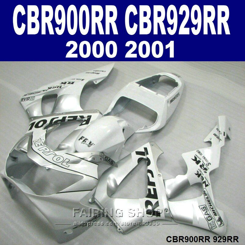 Injection molding motorcycle fairing kit for Honda CBR900RR CBR929RR 2000 2001 CBR929 00 01 silver REPSOL fairings set ZX2