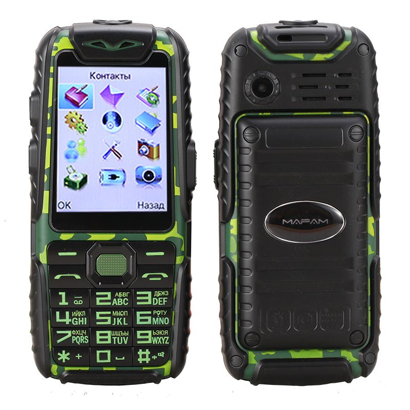 Anti slip rubber Shockproof Dustproof dual sim flashlight big key power bank long standby army outdoor rugged mobile phone M6