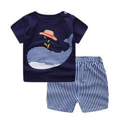 2018 Summer New Baby Suit Korean Version Short Sleeve T-shirt Two Sets Striped Baby Boy Wear Clothing