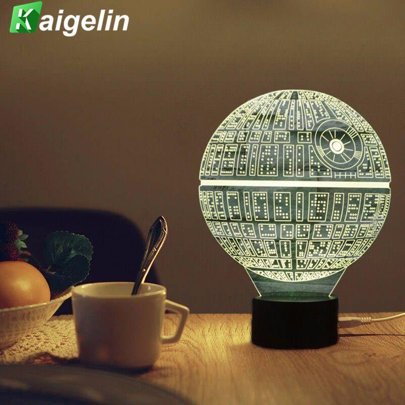 3D Lampe Star Wars Led Night Light Nouveauté USB Lampe de Bureau enfants Tactile Capteur LED Table Lumière 7 Couleurs Changeantes Lampe à Lave veilleuse