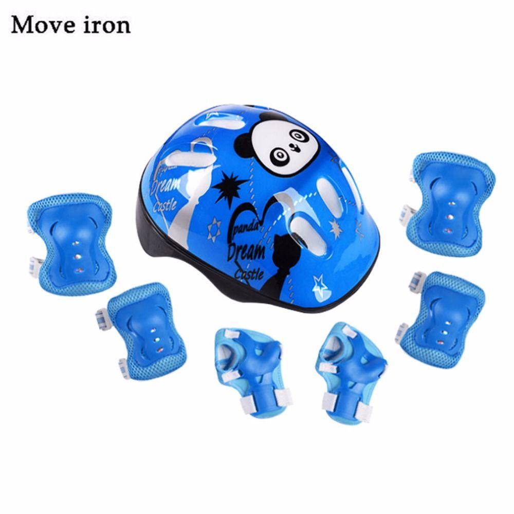 7 pièces Panda Enfants Casque De Vélo Coude Poignet Genouillères Sport Cyclisme casque de vélo pour Enfants Planche À Roulettes Vtt casco ciclismo