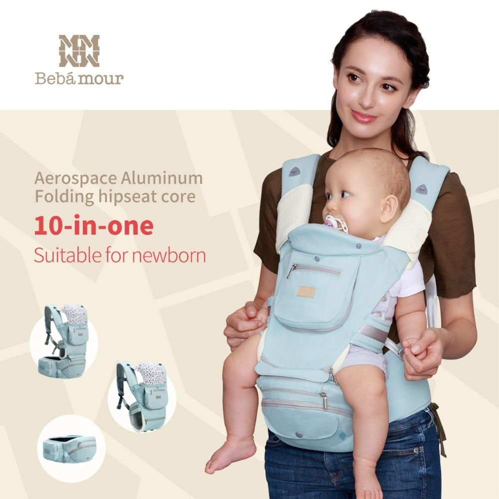 Bebamour New Baby Hipseat 10 in one Babies Carrier 360 Ergonomic Foldable Hip Seat Multifunctional Toddler Sling for Newborns