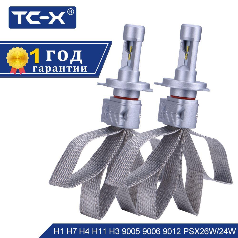 TC-X Lumileds ZES LED Car Headlight H4 9003 H3 H16 H11 H8 H9 9005 HB3 9006 HB4 H7 LED Super Bright Headlight Bulbs Pure White