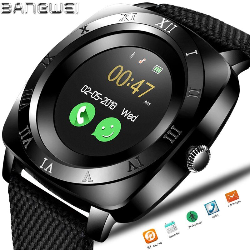 2018BNAGWEI Smart Watch Pedometer Fitness Clock Camera SIM Card Smartwatch phone Mp3 Player man for IOS Android Watchphone +BOX