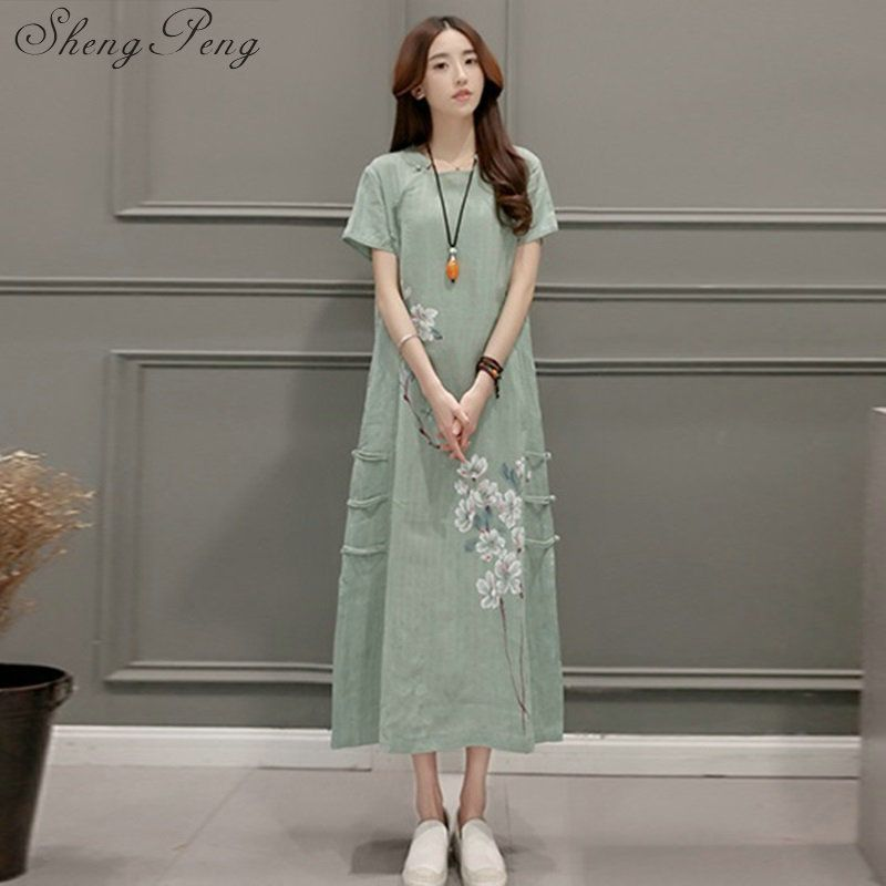 2018 new linen dress ao dai vintage ethnic aodai full sleeve qipao women long cheongsams dress for party 2128 dress V005