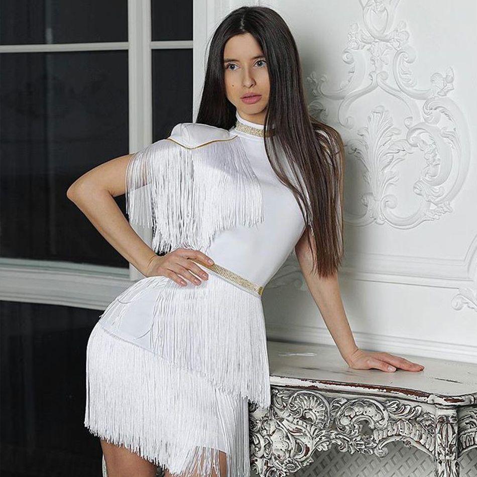 Seamyla 2019 mode femmes robes Vestidos nouveaux glands célèbre soirée robe de soirée blanc rouge nuit Out Club robe d'été