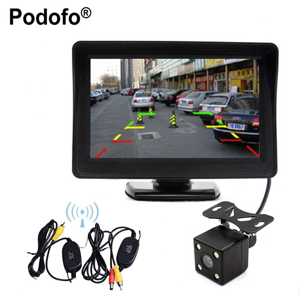 Podofo Wireless Auto Rearview Parking Assist 4.3