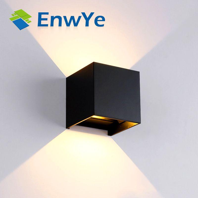 EnwYe Wasserdicht 12 watt indoor outdoor Led Wand Lampe moderne Aluminium Einstellbare Oberfläche Montiert Cube Led Garten Veranda Licht BD80