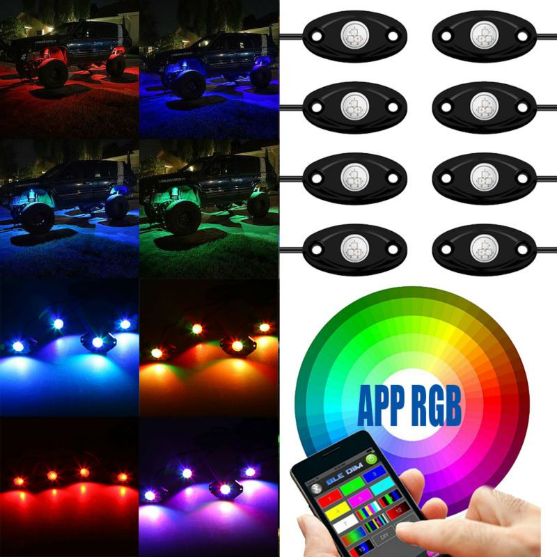 Bluetooth 4/8 Pods LED RGB Rock Lights Offroad Mini Rock Under Vehicle LED Flush Lights Decorate Lamp for ATV UTV JEEP Mine Boat