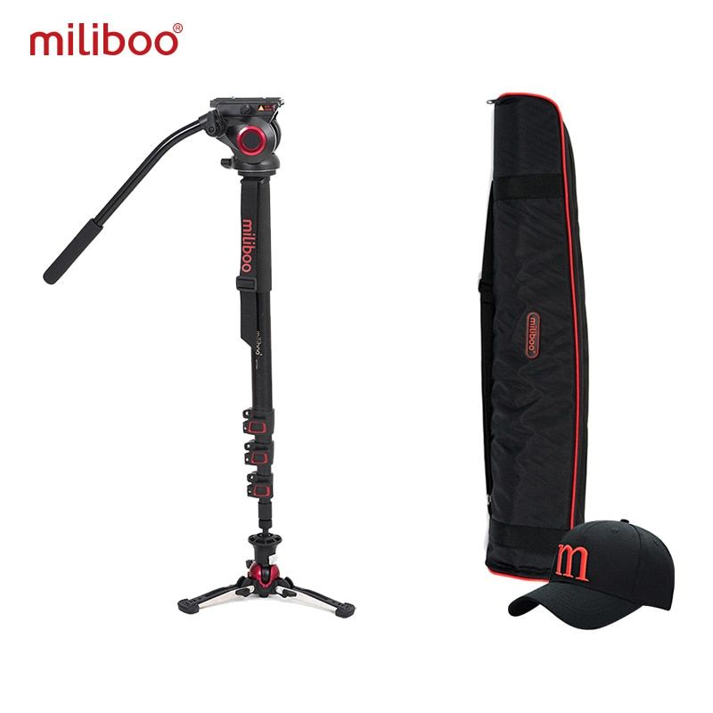 miliboo Aluminum Carbon Portable Fluid Head Camera Monopod Professional Tripod for Camcorder /DSLR Video Stand Max Height 187cm