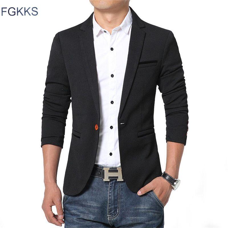 FGKKS nouveau printemps décontracté hommes Blazer coton Slim Fit haute qualité luxe Blazer mâle 2018 marque de mode Blazer hommes costumes