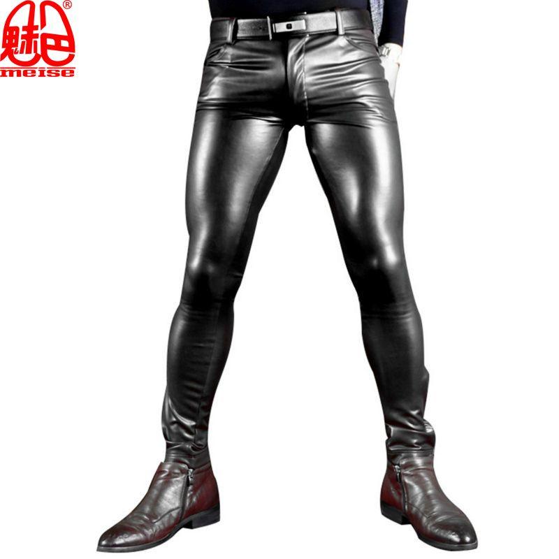 Sexy Männer Kunstleder Pu Matte Shiny Fashion Hosen Rolle Männer X Weiche Dünne Homosexuell Hosen Reißverschluss Öffnen Bleistift Hosen Homosexuell Tragen FX130