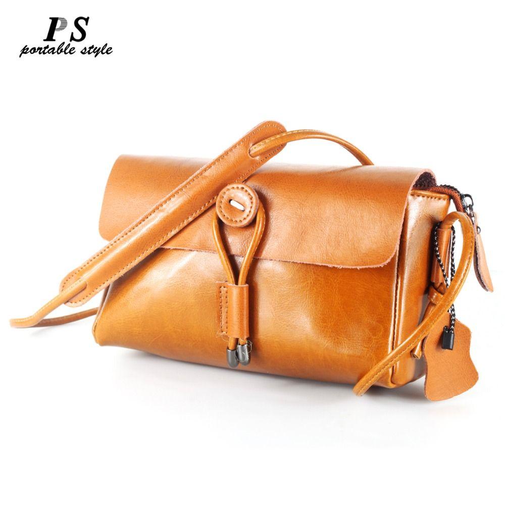 PORTABLE STYLE 2018 Ladies Luxury Handbags Women Bags Designer Oil Wax Genuine Leather Handbag High Quality Women Shoulder Bags